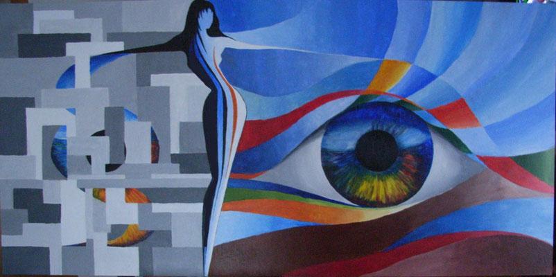 Recht vs. Gerechtigkeit              Acryl auf Leinwand  67 x 137