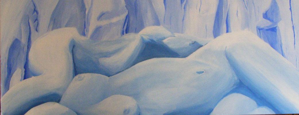 SCHNEELANDSCHAFT                                     Acryl auf Holz  137 x 67