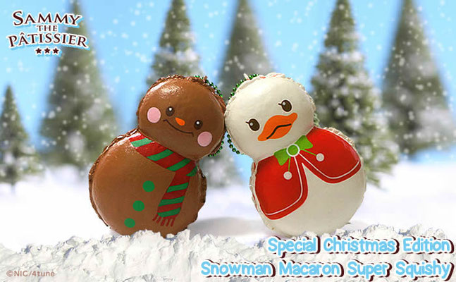Sammy the Patissier Christmas Edition Snowman Macaron Super Squishy