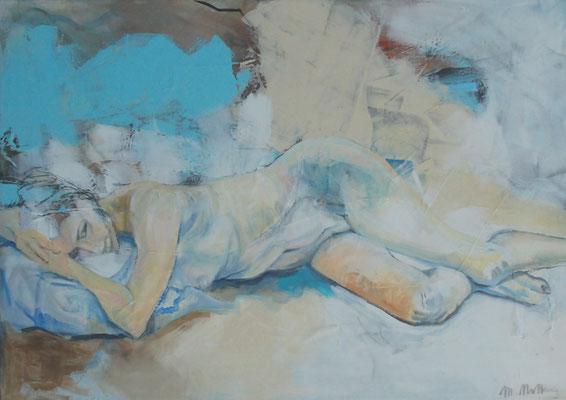 Liegender Akt, Mixed Media auf Leinwand, 70cm x 100cm