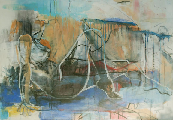 Stretching, Acryl und Stifte auf Leinwand, 70cm x 100cm