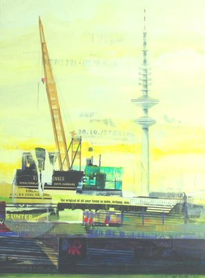 Hamburg in gelb und lila, Mixed Media auf Leinwand, 120cm x 90cm