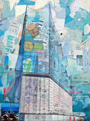 Elbphilharmonie in blau und rosa, Mixed Media auf Leinwand, 120cm x 90cm