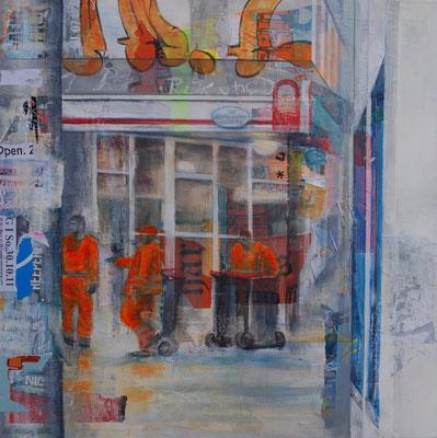 Orange ist nur die Müllabfuhr, Mixed Media auf Leinwand, 90cm x 90cm