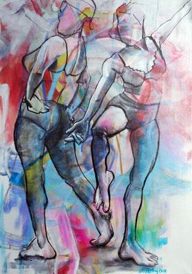 Duo, Acryl und Stifte auf Leinwand, 100cm x 70cm