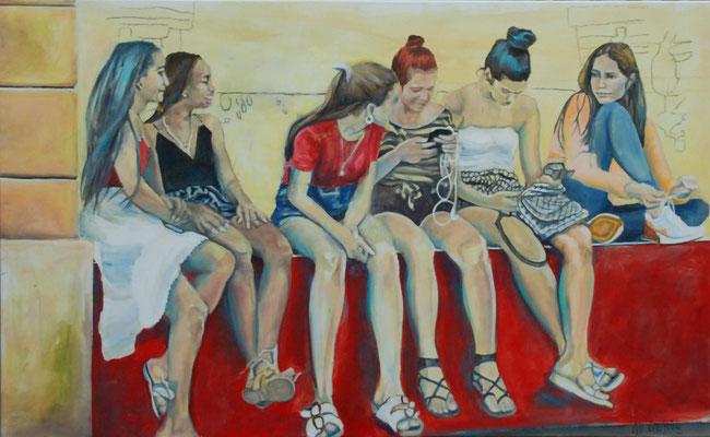 Chicas, Acryl auf Leinwand, 80cm x 130cm