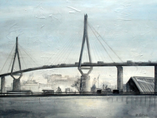 Köhlbrandbrücke, Mixed Media auf Leinwand, 90cm x 120cm