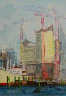 Elbphilharmonie, Mixed Media auf Leinwand, 100cm x 70cm