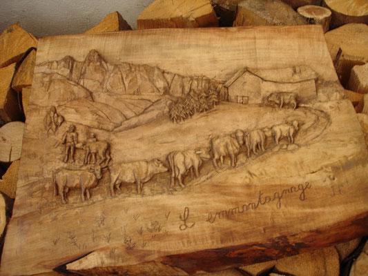 fresque sculpture sur bois