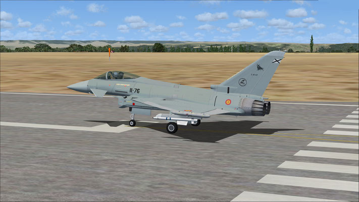 Eurofighter Typhoon Spanish Air Force textures ALA 11 with 2 firing missiles Aim-9m for FSX