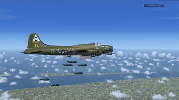 "Boeing B-17 Flying Fortress 303rd 358th Bomb Group ""Hell's Angels"" repaint & bombs drop for FSX"