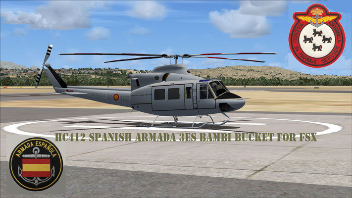 Bell HC412 Spanish Armada 3es Bambi Bucket repaint for FSX
