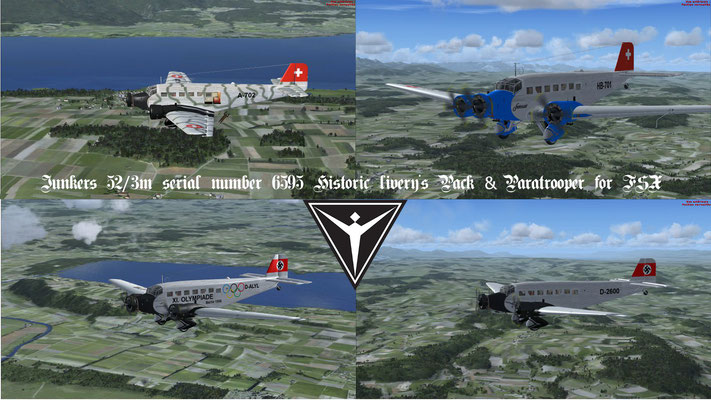 Junkers 52/3m serial number 6595 Historic livery's Pack & Paratrooper for FSX