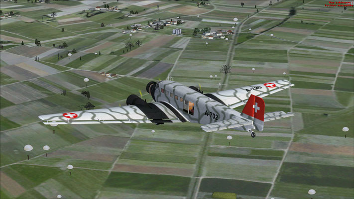 Junkers 52-3m serial number 6595 Swiss Air Force & Paratrooper jump  for FSX
