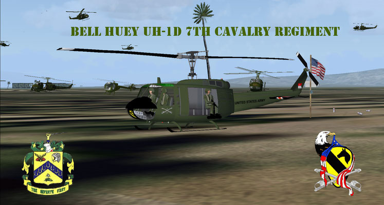 Bell Huey UH-1D 7th Cavalry Regiment repaint for FSX