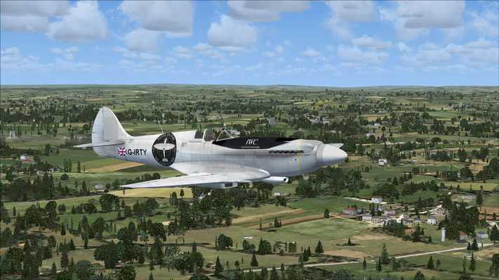 Silver Spitfire Flying Around the World (repaint of the Spitfire Mk.XXI) for FSX