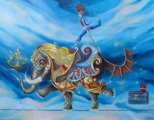 Funambulista elefante con sextante.