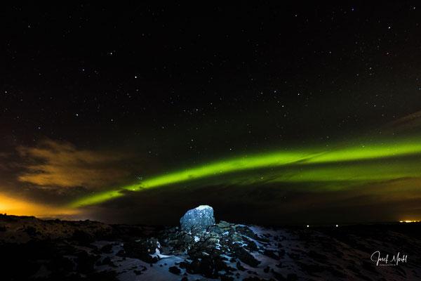 Polarlicht, Reykjanes-Halbinsel, Lavafeld