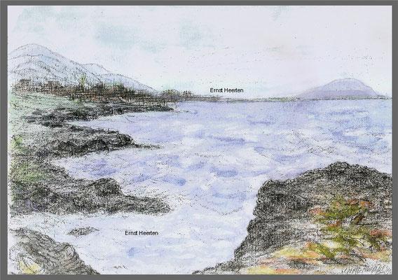 9.5.- Teneriffa-Aquarell-Bucht-Golf-des-Sur   /  180.- €