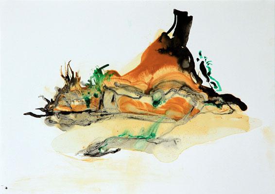 Zeichnung Afrika - Termitenhügel 7