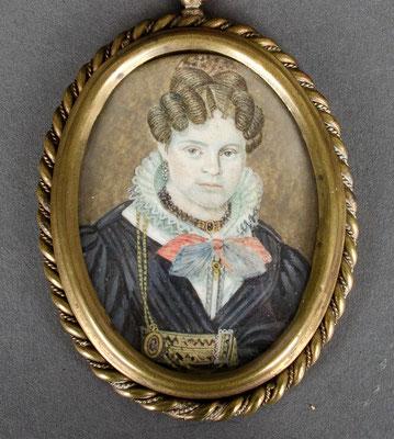 Miniaturist des 19. JH.; Damenporträt in nordischer Tracht