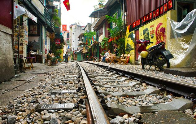 Train street Hanoi, Vietnam