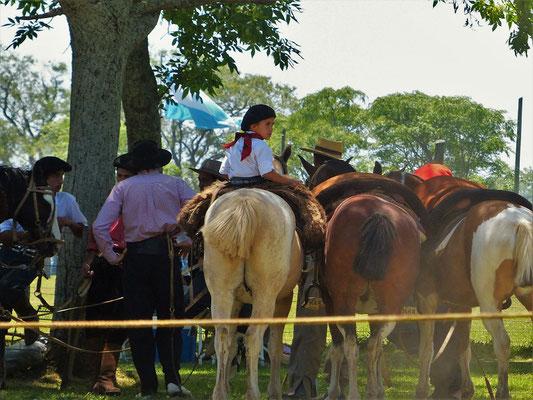 Auch die ganz Kleinen üben sich schon in Geduld - dieser kleine Junge hat 90 Minuten ruhig auf dem Pferd gewartet