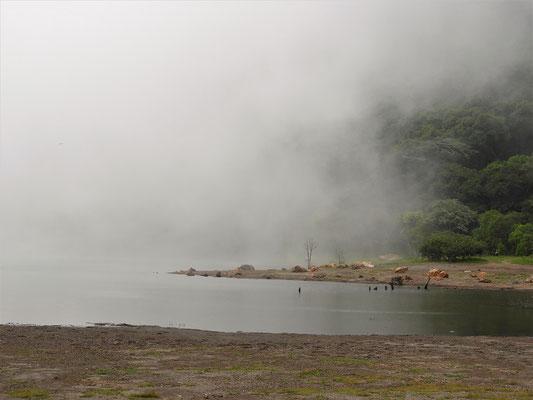 Innert wenigen Minuten ist das Kraterbecken mit Nebel gefüllt