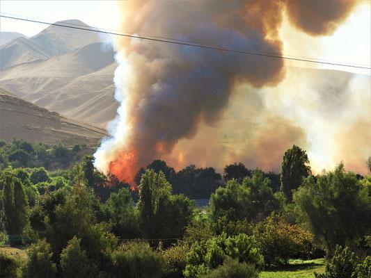 Beim Unrat verbrennen ausser Kontrolle geraten - das ganze Tal ist voller Rauch