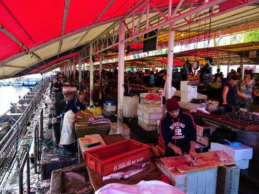 Gemüse- und Fischmarkt - Die hungrigen Gäste warten auf ihr Futter (links)