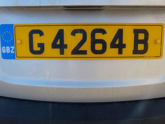 Autokennzeichen von Gribraltar - Great Britain Zone/GBZ