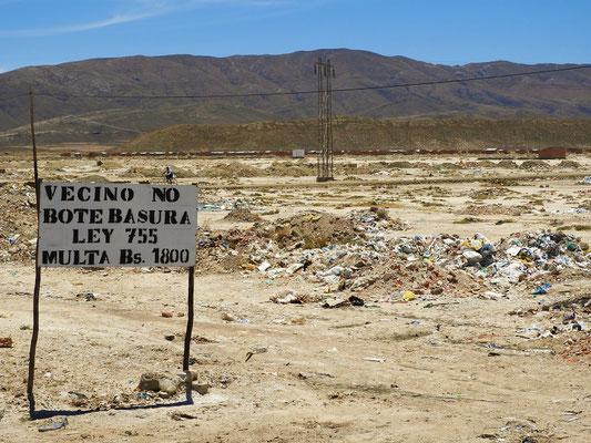 Nachbar, kein Kehricht rauswerfen! Busse 1800 Bolivianos/SFr 260.-