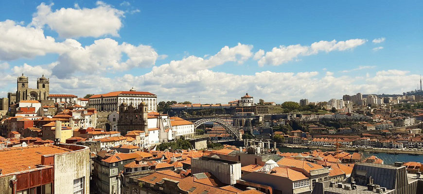 Blick auf Kathedrale, Brücke und Douro