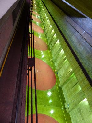 Blick auf die Turbinen mit einem Durchmesser von 20m