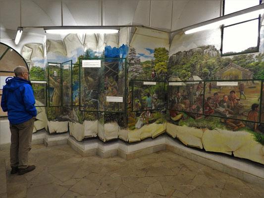 Die Geschichte der Entstehung der Basilika in einem Wandgemälde dargestellt