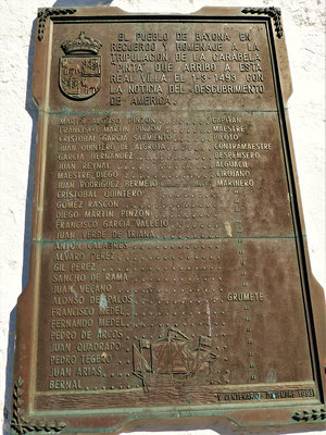 Die Gedenktafel mit den Namen der gesamten Pinta-Crew