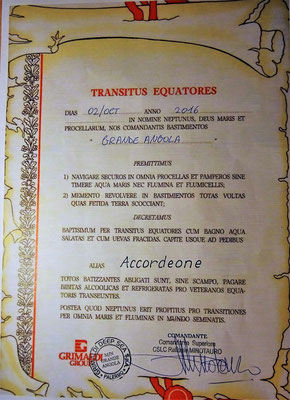 Röbäs Zertifikat der Äquatorüberquerung