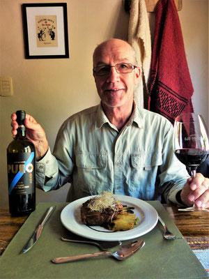 Ein sehr leckeres Mittagessen mit dem passenden Wein