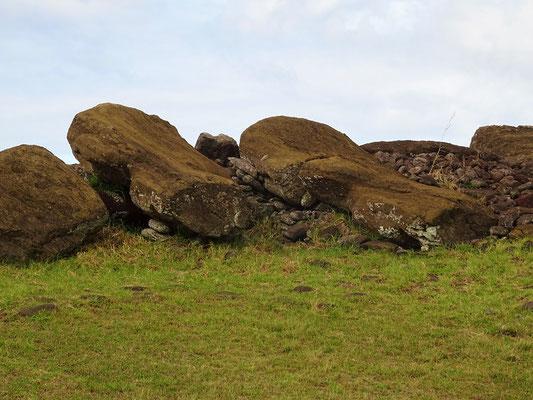 Die umgestossenen Moai von Vinapu
