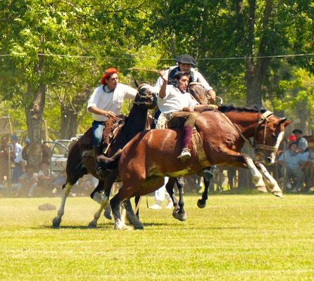 Der Rodeo-Reiter wird nach einer bestimmten Zeit vom Pferd geholt