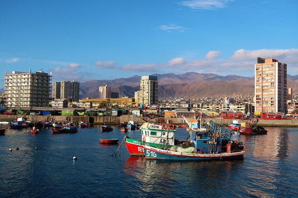Fischerboote mit Fischmarkt im Hintergrund