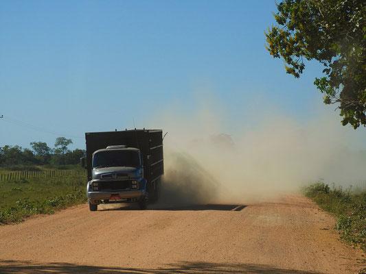 Und immer wieder Staubwolken von Lastwagen