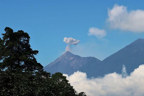 Der Vulkan Fuego mit einer - bei Tageslicht - wenig spektakulären Eruption
