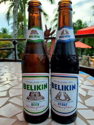 Belikin - das einzige nationale Bier von Belize mit einem Tempel von Altún Ha auf der Etikette
