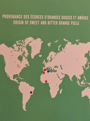Herkunftsländer der Orangenschalen
