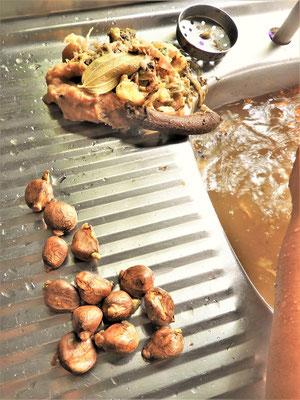 ....Die Kastanien müssen aus der matschigen überreifen Frucht herausgewaschen werden....