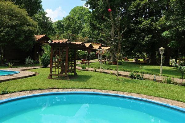 Auf der Hacienda des Parque Pulhapanzak kann man sich eine Cabaña mieten....