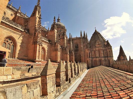 Neue Kathedrale links, alte Kathedrale rechts mit Ziegeldach und kleinem Türmchen