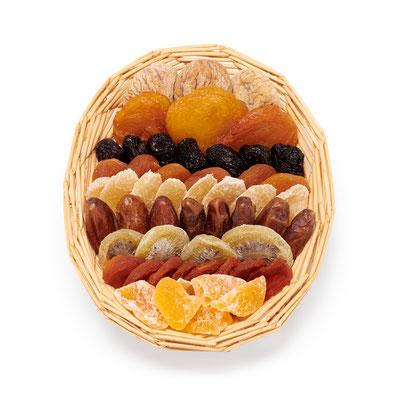 Art. 950223 Zainli  Aprikosen, Datteln, Feigen, Pflaumen, Birnen, Melonen, Ananas, Kiwi     Korb: 22 x 16 x 3 cm  Verpackung: Karton 4 x 490 g