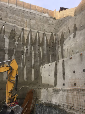 Baugrubensicherung mit Spritzbeton-Nagelwand